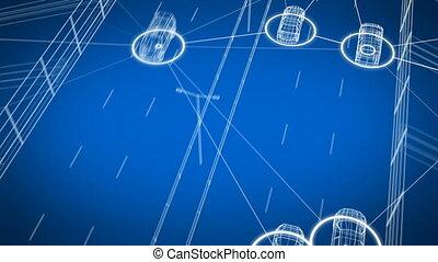 contrôle, tout, fait boucle, seamless., échanger, 3840x2160., système, animation, connecter, transport, numérique, 4k, autoroute, 3d, network., voitures, données, hd, voiture, intelligent, ultra, route