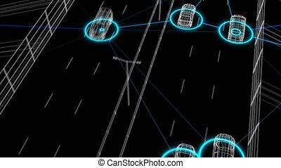 contrôle, tout, fait boucle, seamless., 3840x2160., réseau, système, artificiel, surveillance, animation, connecter, route numérique, 3d, voitures, trafic, automatisé, hd, intelligence., 4k, ultra, futuriste