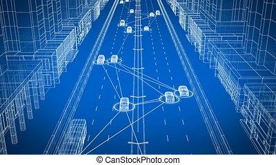 contrôle, tout, fait boucle, seamless., résumé, rue, échanger, 3840x2160., ville, système, animation, connecter, transport, numérique, intelligent, 3d, network., voitures, données, hd, voiture, 4k, ultra