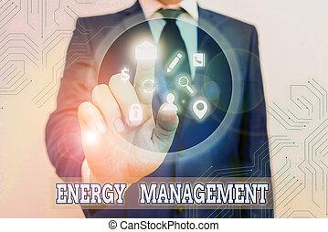 contrôler, écriture main, photo, énergie, showcasing, projection, conceptuel, conserver, usage., management., manière, poursuite, business