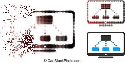 contrôler, hiérarchie, halftone, éclat, pixel, icône