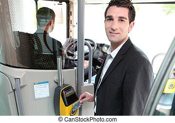 contrôleur, bus., jeune