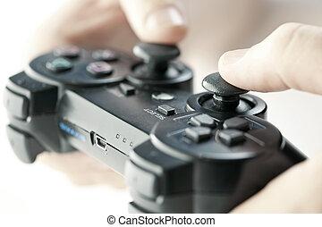 contrôleur jeu, mains