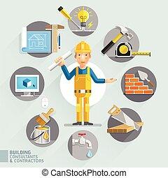 contractors., consultants, bâtiment, &