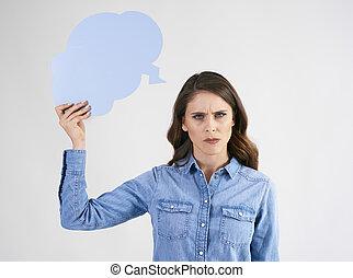 contrarié, bulle, femme, vide, parole, tenue