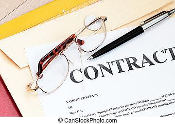 contrat légal, papiers, droit & loi