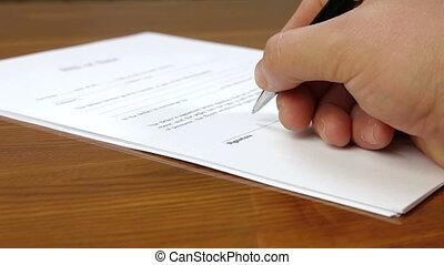 contrat signant, main