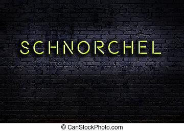 contre, brique, mot, schnorchel, signe., néon, nuit, vue, wall.