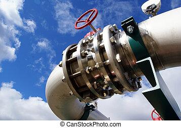 contre, ciel bleu, boulons, canaux transmission, valves