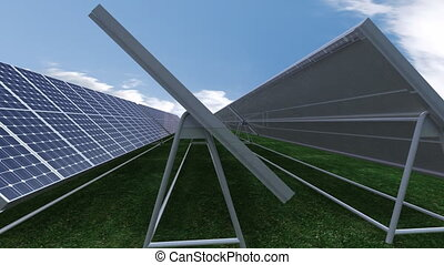 contre, ciel bleu, panneaux solaires