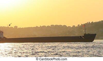 contre, coucher soleil, bateau, croiser, pétrolier