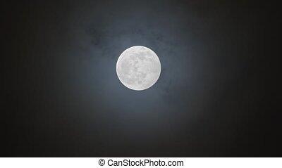 contre, entiers, nuageux, lune, ciel nuit