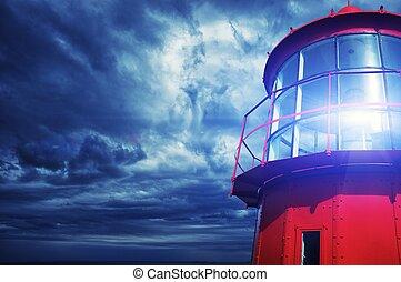 contre, orageux, sky., phare