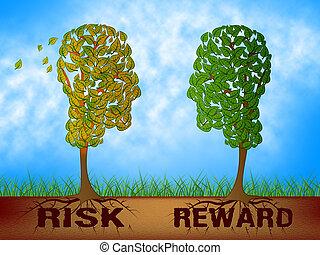 contre, risque, profit, décision, -, analyse, cout, illustration, mots, contrastes, récompense, 3d