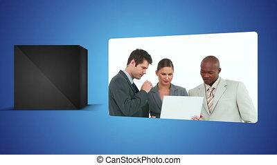 contre, vidéos, business, backg, blanc
