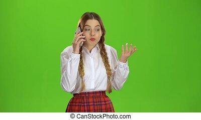 conversation, écran, téléphone., vert, girl