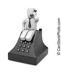 conversation, 3d, téléphone, homme affaires