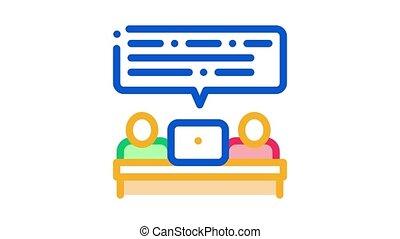 conversation, animation, icône, professionnels