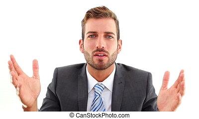 conversation, appareil photo, sérieux, homme affaires