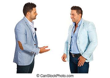 conversation, avoir, homme affaires