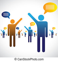 conversation, bavarder, icônes, beaucoup, graphic., gens, illustration, une, symboles, autre, bavarder, ou, parler, spectacles