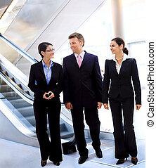 conversation, businesspeople