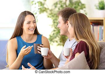 conversation, café, amis, boire, maison