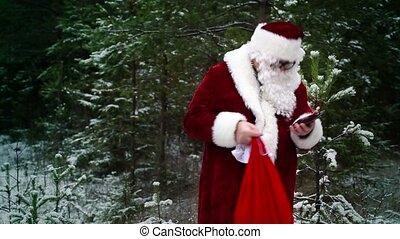 conversation, claus, santa, sac, cadeau