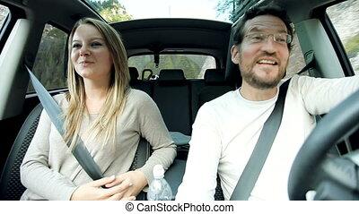 conversation, couple, amour, voiture