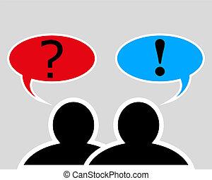 conversation, entre, deux personnes