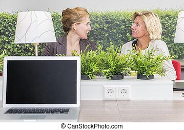 conversation, femme, workarea, leur