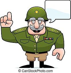 conversation, général, dessin animé, militaire