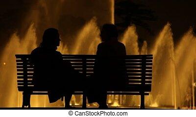 conversation, gens, nuit