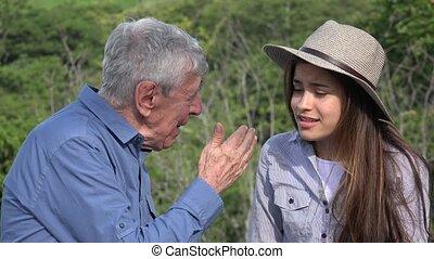 conversation, girl, homme âgé