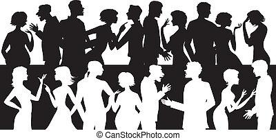 conversation, groupe, gens