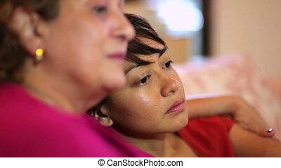 conversation, heureux, fille, mère