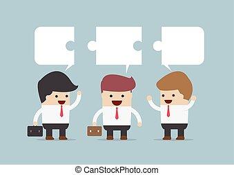 conversation, homme affaires, groupe
