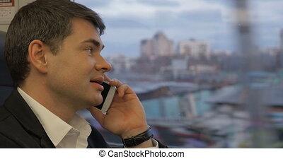conversation, homme affaires, manière, téléphone