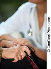 conversation, infirmière, femme, personnes agées