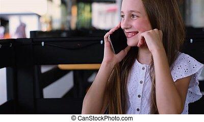 conversation, jeune, téléphone, sourire, café, girl