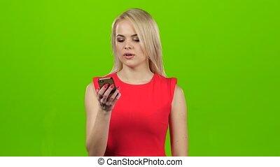 conversation, mobile, écran, téléphone, vert, sourire, blond