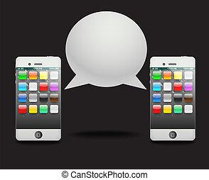 conversation, moderne, parole, phone?, cloud.