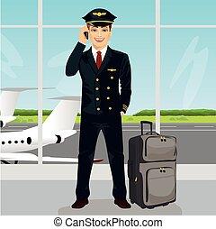 conversation, observation, bagage, pont, jeune, téléphone, aéroport, devant, pilote