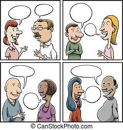 conversation, panneaux