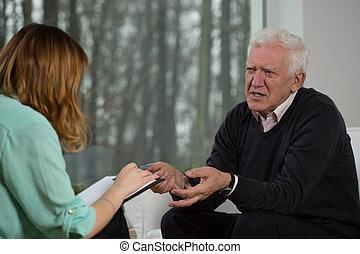 conversation, patient, personnes agées, psychothérapeute