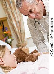 conversation, sien, patient, jeune docteur