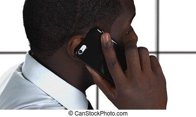 conversation, téléphone, blanc, arrière-plan.