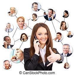 conversation, téléphone, groupe, gens