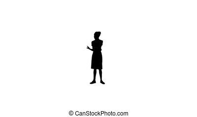 conversation téléphonique, avoir, femme, silhouette