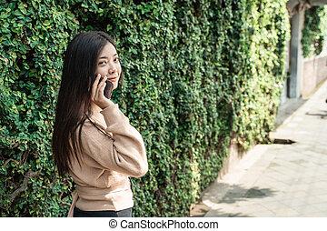 conversation, utilisation, téléphoner femme, mobile